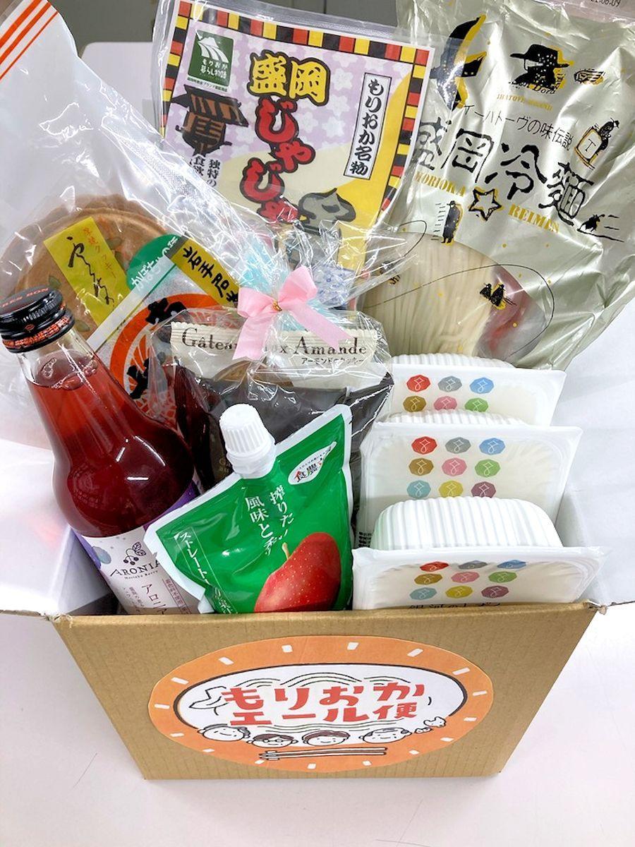 「もりおかエール便」の一例。盛岡三大麺と盛岡の特産品が入る