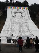 富士市で「大観音大祭」 布に描かれた巨大な観音像、年に一度のご開帳