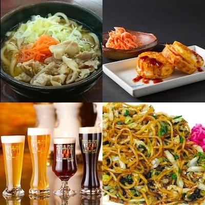 「吉田のうどん」(左上)、「おこたま」(右上)、「富士桜高原麦酒」(左下)、「富士宮やきそば」(右下)