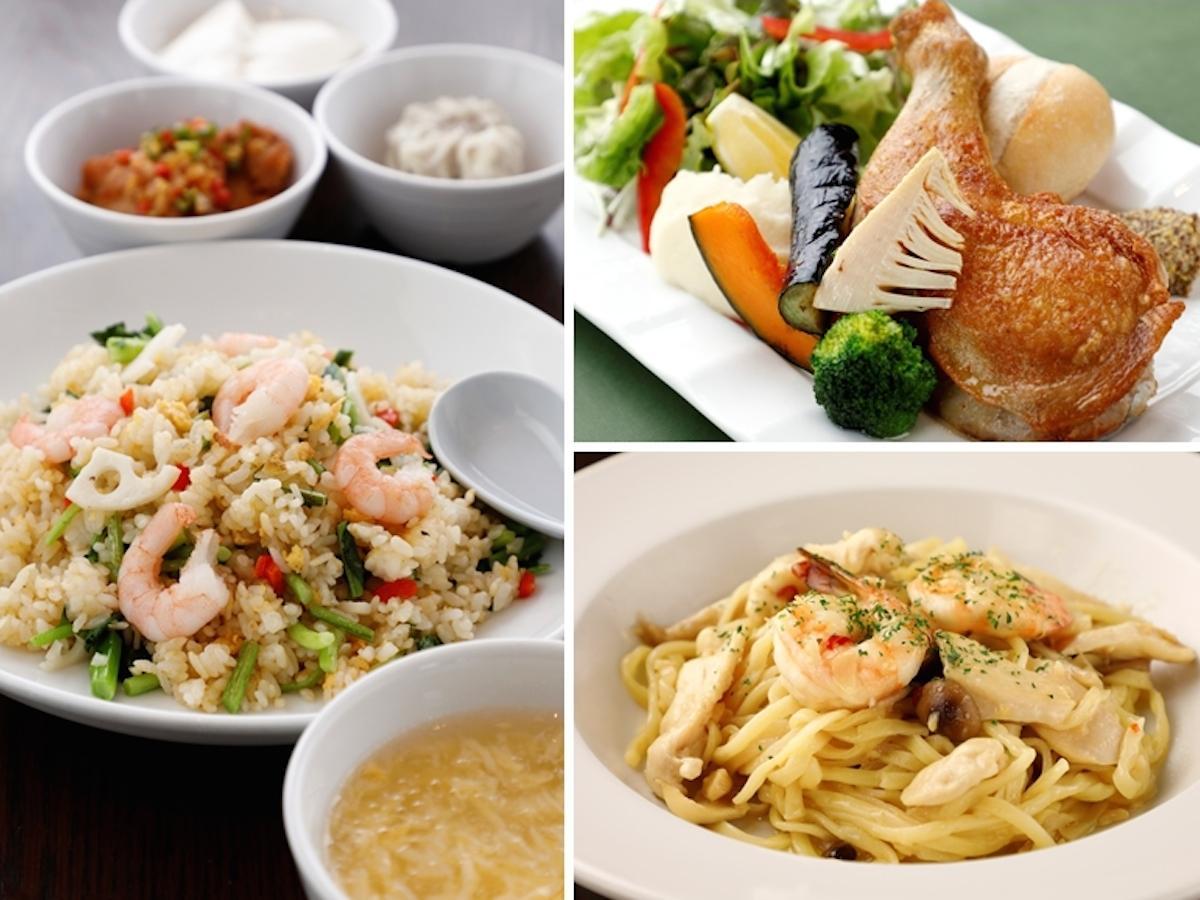 「水かけ菜と海老のチャーハン」(左)、「御殿場太陽チキンのコンフィプレート」(右上)、「太陽チキンと海老のパルメザンパスタ」(右下)