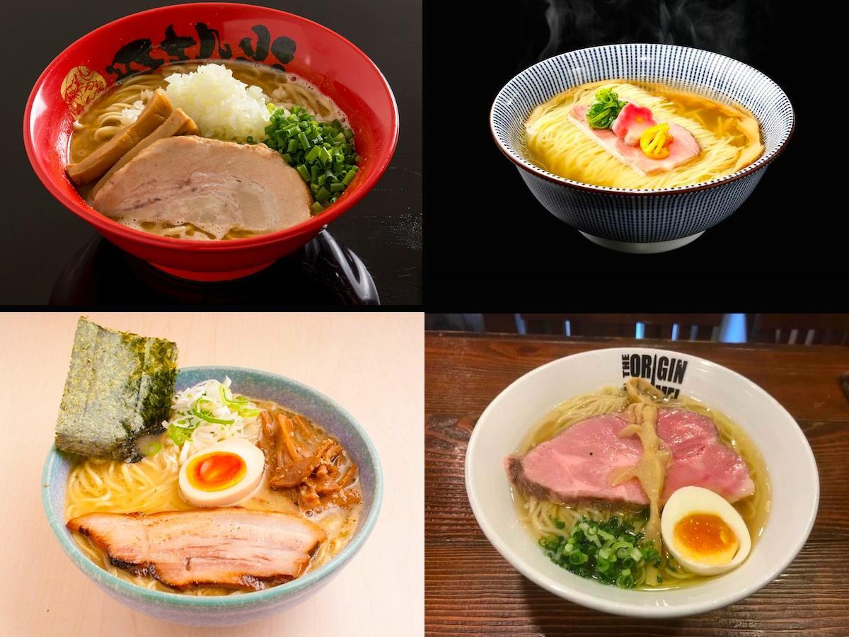 「鯛塩らぁ麺」(右上)、「濃厚伊勢海老そば」(左上)、「鶏白湯ラーメン」(左下)、「鶏とサンマ節の塩らあめん」(右下)