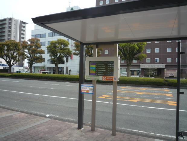 富士市役所バス停のデジタルサイネージ