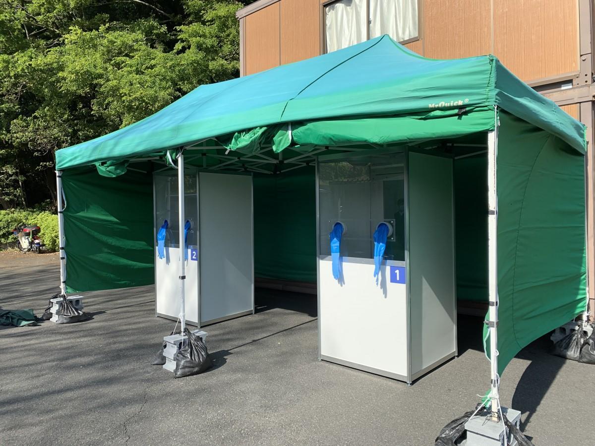 富士宮市救急医療センターに設置されたPCR検査場