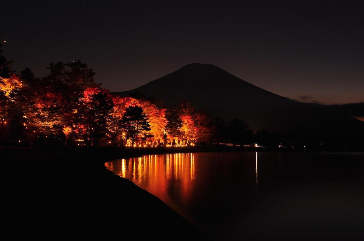 ライトアップした山中湖の紅葉と富士山(過去開催時の様子)
