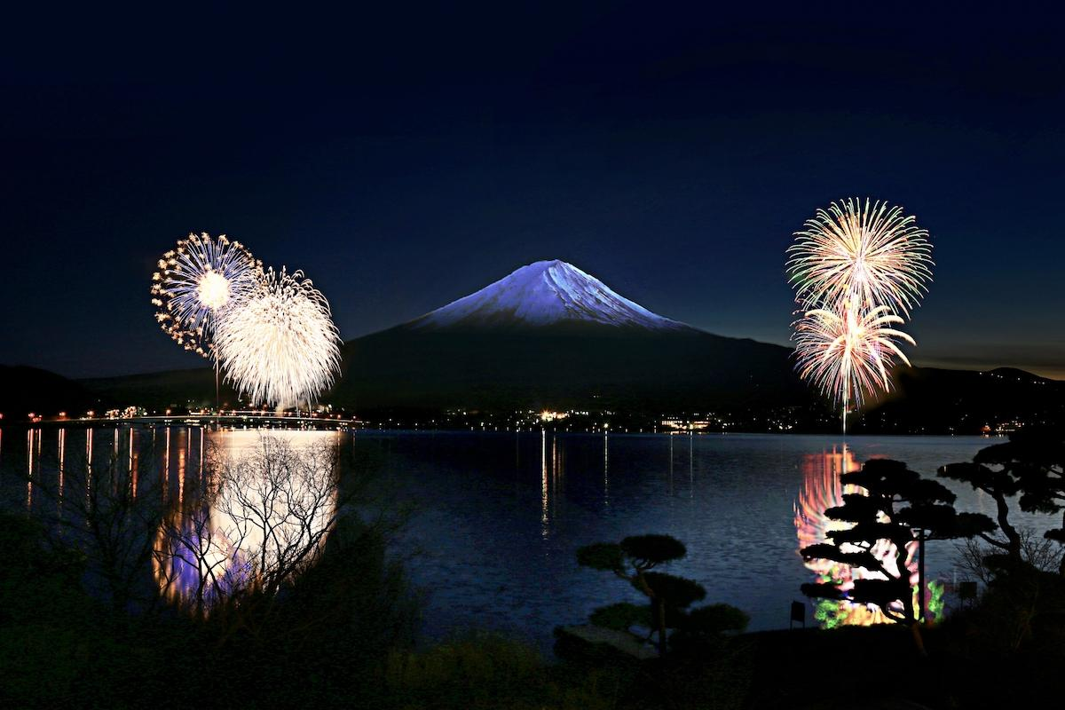 「河口湖・冬花火」(過去開催の様子)