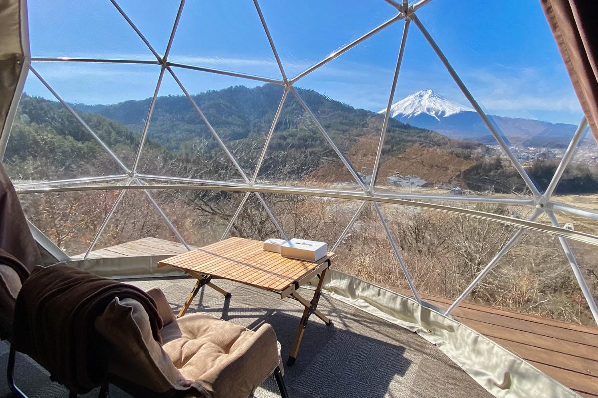 新ドームテント「プレミアムツイン」室内からの眺め
