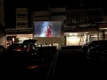 吉原商店街でドライブインシアター 車に乗ったまま映画を鑑賞