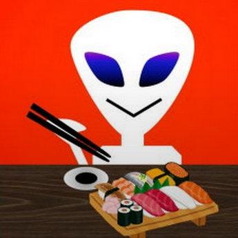 すしを食べる火星人のイラスト
