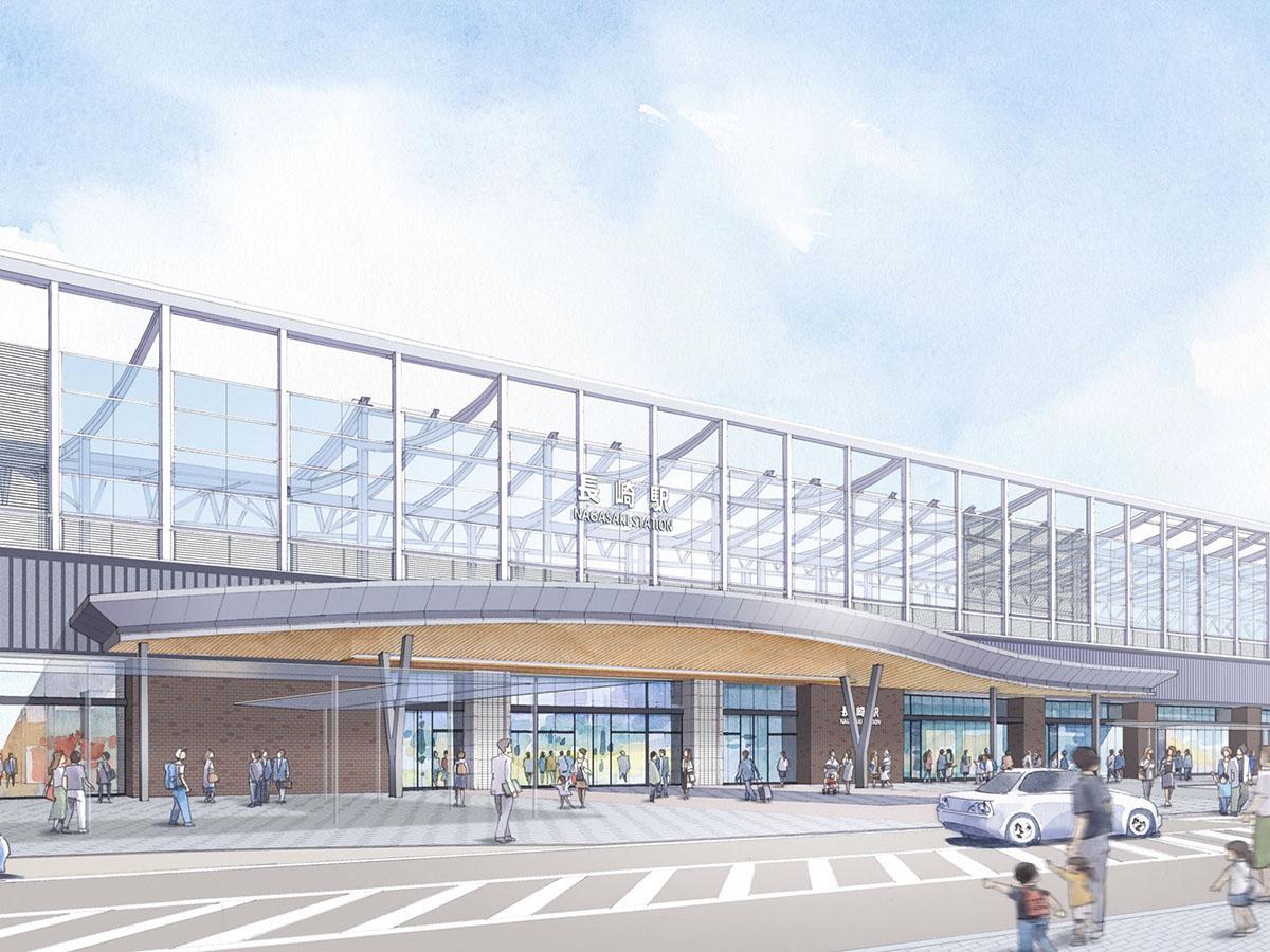 高架下駅となる長崎駅の新駅舎のイメージ(提供=長崎県)