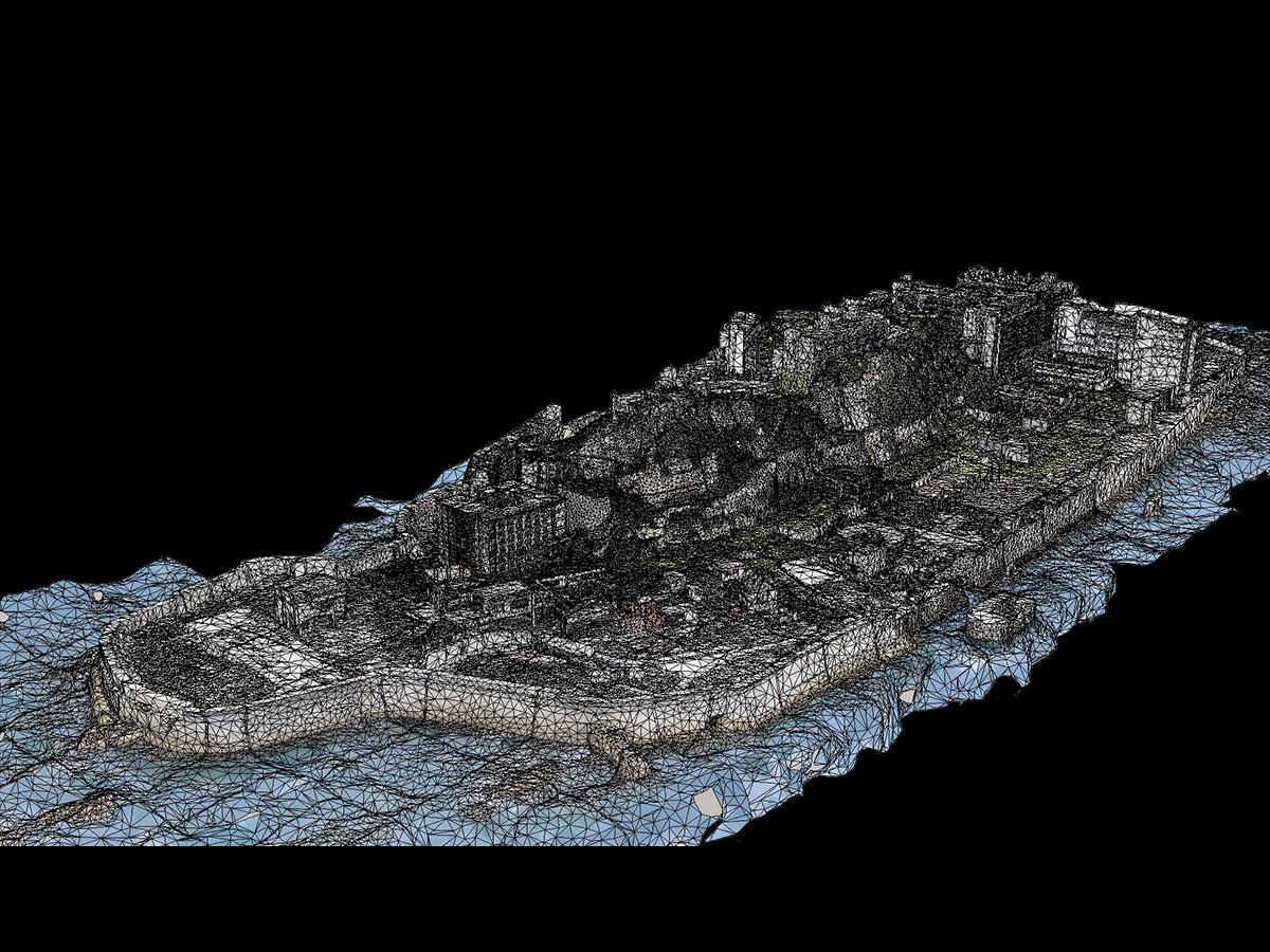 軍艦島の3次元CG画像