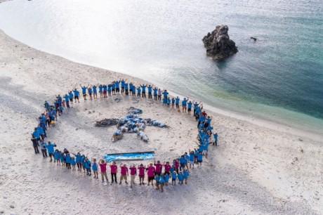 砂浜の清掃作業後に行われたビーチクリーンアート。渡嘉敷島は「ウミガメ」を描く
