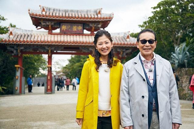 首里城でタモリさんと桑子真帆アナウンサー(写真提供=NHK)