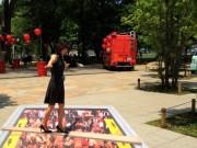 中野セントラルパークにトリックアート出現 キリン「一番搾り」ビアガーデンPRで