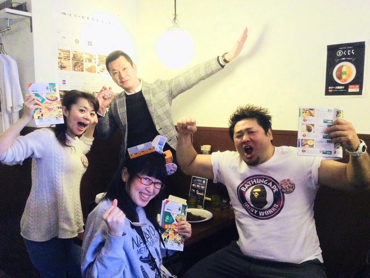 「オタメシスト」の折井理子さん(左)、神田山緑さん(後列)、メトロポリちゃんVさん(前列)、NORIさん(右)