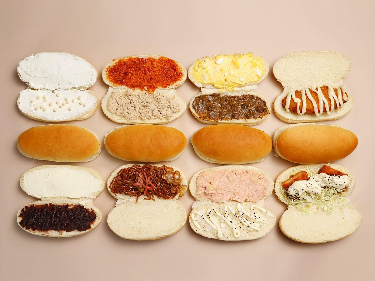 自家製ヨーグルト種でつくるコッペパンは全16種類(写真は新作8種類)