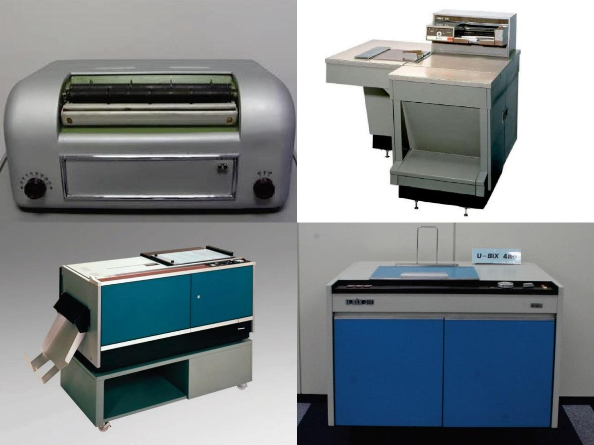 リコー社製「リコピー101」(左上)、富士ゼロックス社製「914」(右上)、キヤノン社製「NP-1100」(左下)、コニカ社製「U-Bix480」(右下)