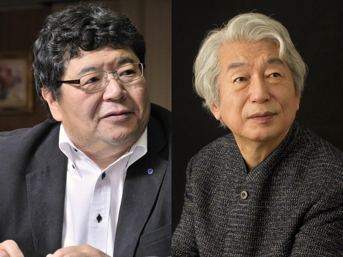 音楽評論家の真嶋雄大さん(左)とピアニストの舘野泉さん(右)
