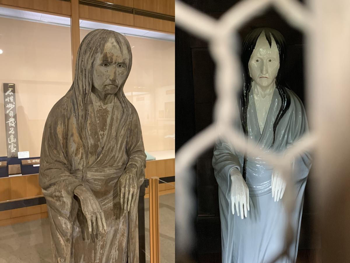 れきみんに展示中の修復後「幽霊像」(左)と哲学堂「哲理門」にある「幽霊像」レプリカ