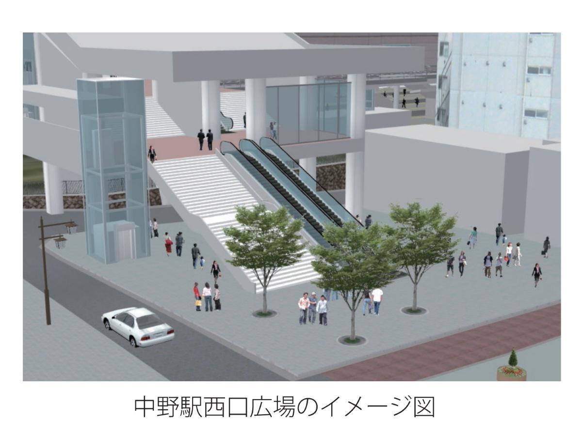 広場は南北通路と一体的に整備(イメージ図)