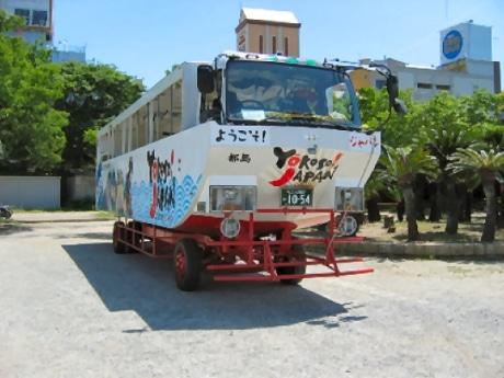 誰もが振り返るという車体の大きさが特徴の水陸両用バス(37人乗り)