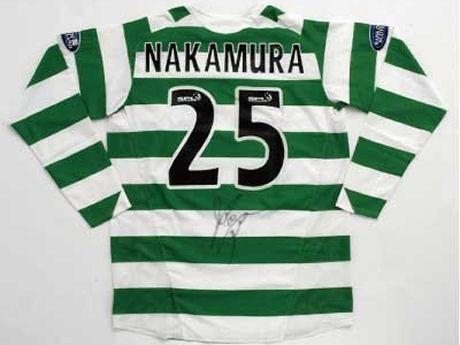 中村俊輔選手が実際に試合で着用した「セルティック05-06シーズン ホーム」サイン入り