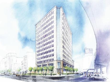 ホテル南海なんば跡地に建設を計画しているサービスアパートメントの完成予想イメージ。