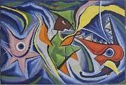 岡本太郎さんの巨大タイル画「ダンス」(1952年作)