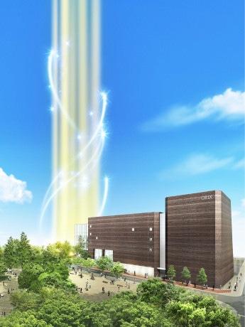 リニューアルオープンする「オリックス劇場」(右)。西側には53階建てタワーマンション(左)の建設を予定