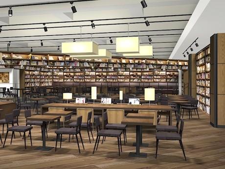 スターバックス2階の様子。2000冊を収容する書棚を設置した