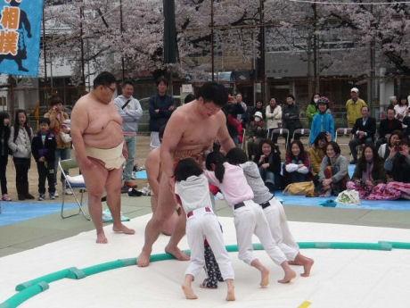 簡易土俵で「高台ふれあい相撲」
