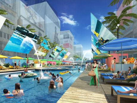 道頓堀プールの完成予想図。「予定調和の世界」がコンセプト