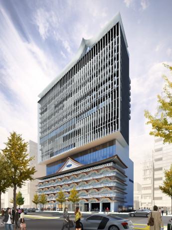 低層階は新歌舞伎座をモチーフにしたという「ホテルロイヤルクラシック大阪」の完成イメージ