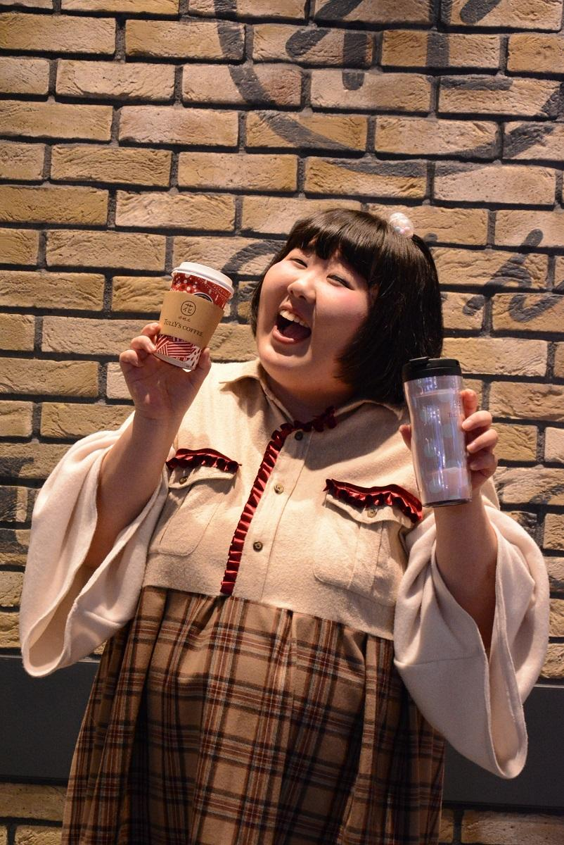 オープン前日に「花のれんタリーズコーヒー」を訪れた吉本新喜劇の酒井藍さん