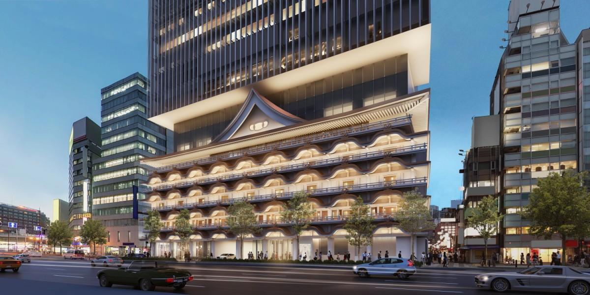 新歌舞伎座の外観を継承した低層階デザインとなる