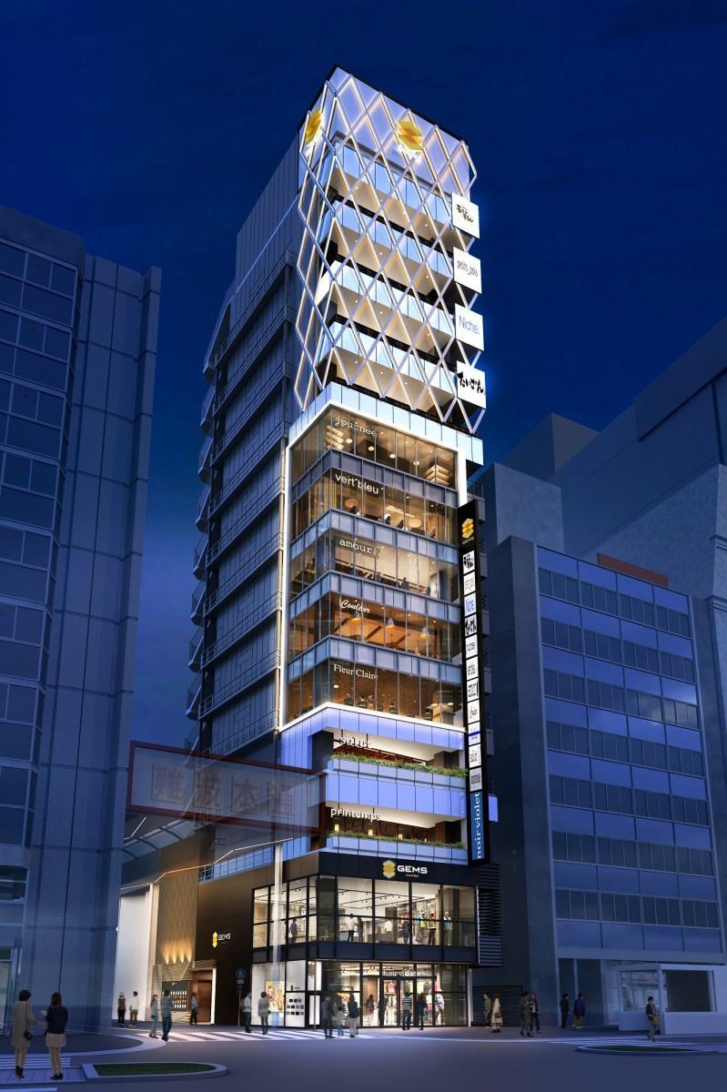 「GEMSなんば」の全景。1~2階は「地」、3~4階は「森」、5~9階は「光」、10~13階は「風」とフロアごとにデザインコンセプトを変える。上層階からはなんばの夜景も一望できるという