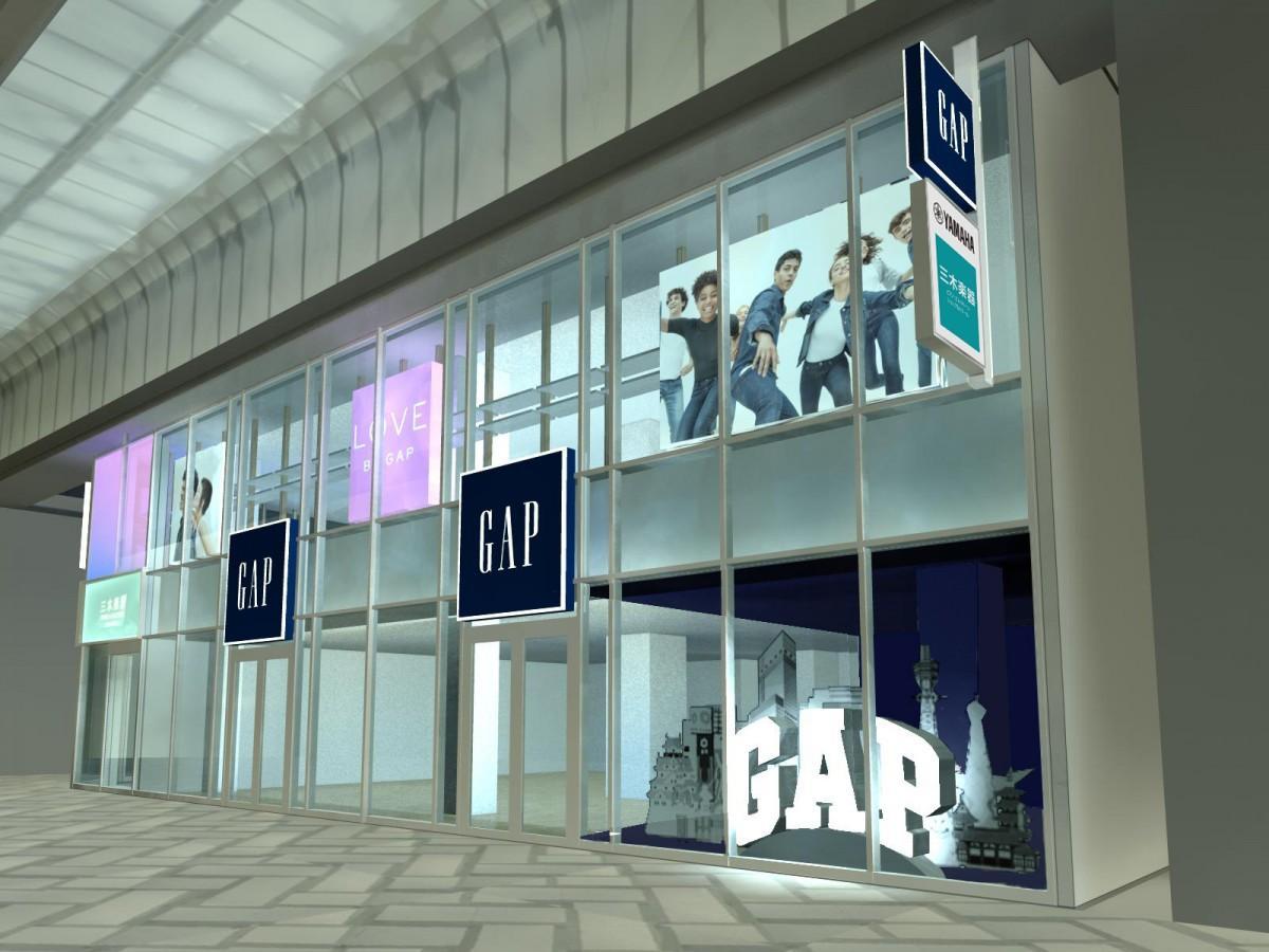 「GAP心斎橋店」の店舗イメージ。1階には「ロゴショップ」を設ける