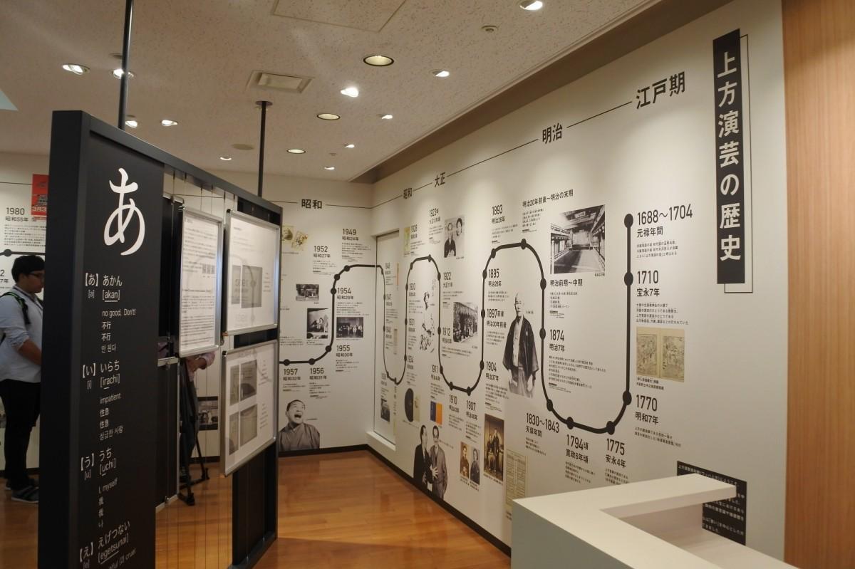 上方演芸の歴史をパネルやポスターで振り返る常設展示
