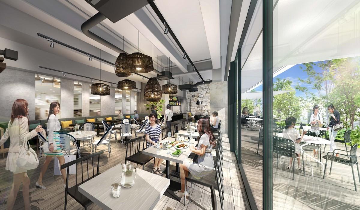 開放的なレストランは、緑化されたテラスに面する