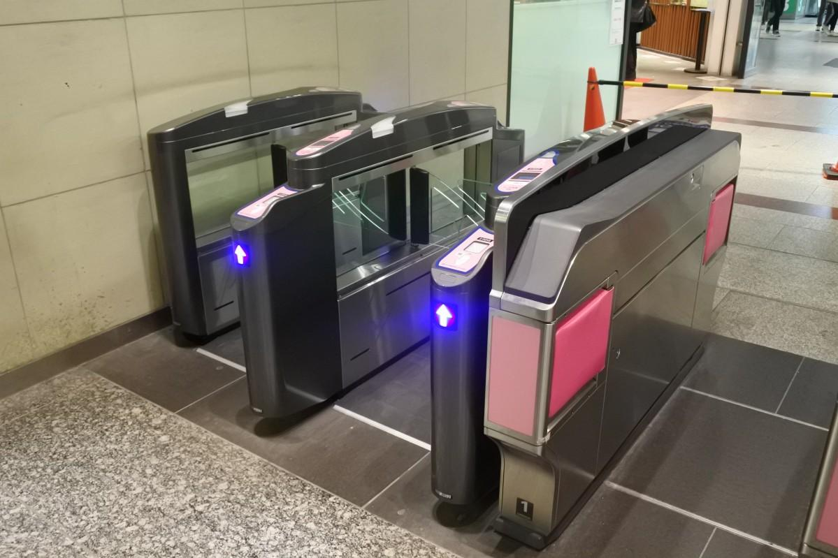 新しく設置した改札(南海なんば駅3階)