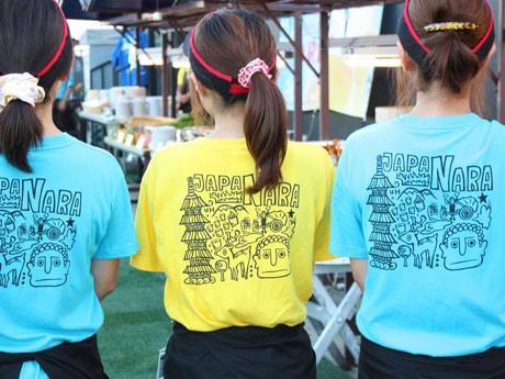 スタッフは奈良の土産としても人気を集める「鹿Tシャツ」を着て接客するなどの工夫を凝らしたホテル日航奈良のビアガーデン