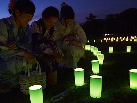 奈良公園一帯で始まった「なら燈花会」(2015年8月5日19時30分すぎ撮影)