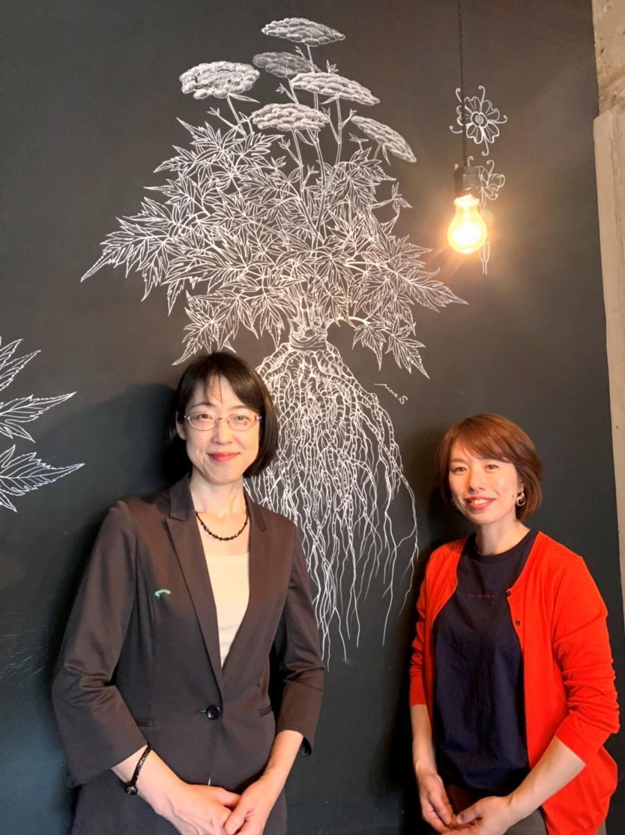 大和当帰の作品の前で、佐伯さん(左)と吉田さん