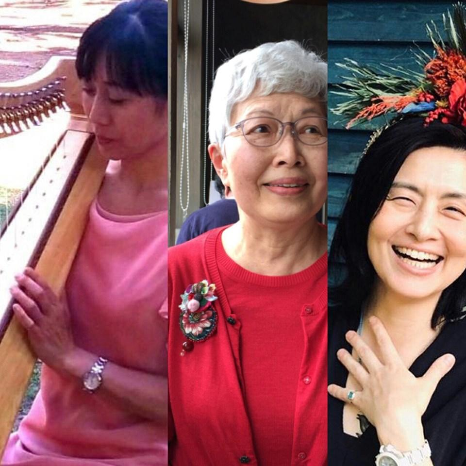 左から、アイリッシュハープ演奏の山本美和さん、音訳ボランティアの佐々木恵子さん、舞台俳優の木全晶子さん。