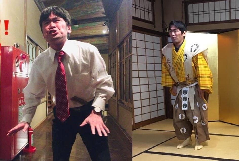 古典狂言と創作狂言を演じる河田全休さん