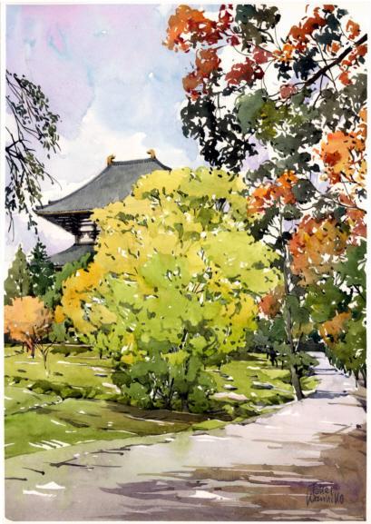東大寺講堂跡から見える大仏殿 「奈良で木枯らし1号の知らせがあった日のスケッチ。いつもなら閑散としているが、正倉院展開催中で正倉を見学に来る人が多い。スケッチする同好の士もちらほら」