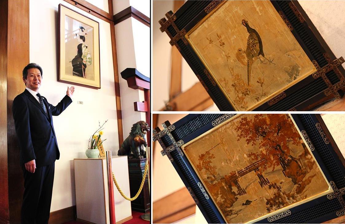 (右)見どころの「天鵞絨(ビロード)友禅」 (左)「上村松園の『花嫁』は本館ロビーに飾られている」と藤田さん