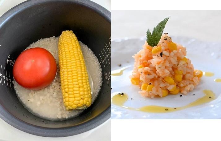 「炊飯器で作る、トマトとコーンのハトムギリゾット」炊飯器に材料を丸ごと入れるだけの簡単料理