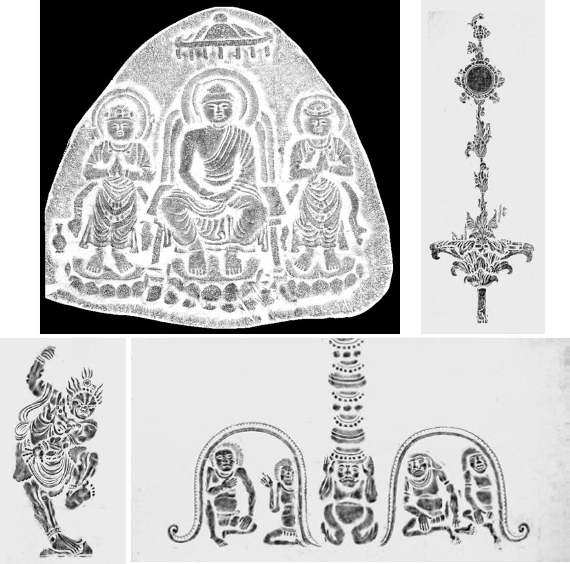 大和古寺の仏像・光背・装飾具のさまざまな拓本
