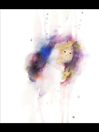 いわさきちひろ 窓ガラスに絵をかく少女 「あめのひのおるすばん」(至光社)より 1968年