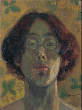 宮芳平「自画像」 1914(大正3)年 油彩・板 30.5×23.1センチ 安曇野市豊科近代美術館蔵